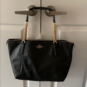 Coach Ava Chain Black/Gold Leather Tote